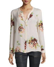 Joie Devitri Floral-Print Silk Blouse at Neiman Marcus