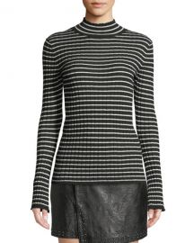 Joie Gestina Striped Mock-Neck Sweater at Neiman Marcus