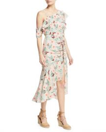 Joie Jamima Printed One-Shoulder Midi Dress at Neiman Marcus