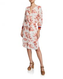 Joie Jeanee Floral-Print Button-Front 3 4-Sleeve Dress at Neiman Marcus