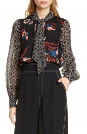 Joie Kanela Mixed Print Tie Neck Silk Blouse   Nordstrom at Nordstrom