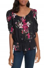 Joie Kennon Ruched Sleeve Ruffle Hem Silk Top at Nordstrom