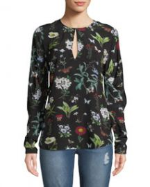 Joie Liseli Floral Long-Sleeve Keyhole Top at Neiman Marcus