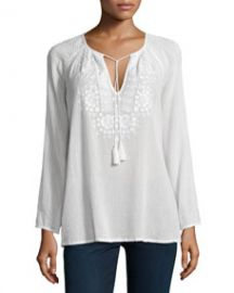 Joie Majorie Embroidered Voile Top at Neiman Marcus