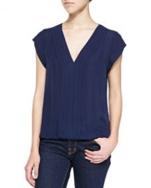 Joie Marcher V-Neck Top with Pleated Front Navy at Neiman Marcus