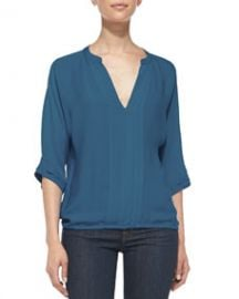 Joie Marru Pintuck-Front Silk Blouse at Neiman Marcus