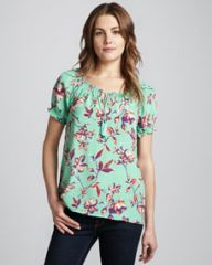 Joie Masha Graphic Floral Tie Blouse at Neiman Marcus