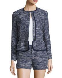 Joie Milligan Tweed Zip-Front Jacket  Blue at Neiman Marcus