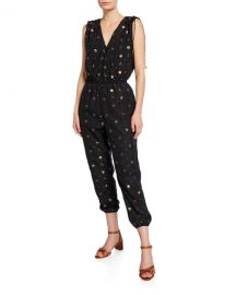 Joie Nadezhda Printed Metallic Jumpsuit at Neiman Marcus