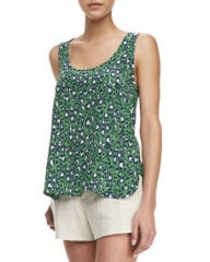 Joie Neely Sleeveless Printed Racerback Tank at Neiman Marcus