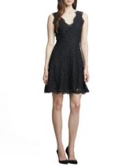 Joie Nikolina Fringe-Trim Lace Dress at Neiman Marcus