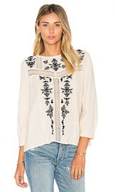 Joie Oakes Embroidered Blouse in Almond  amp  Caviar from Revolve com at Revolve