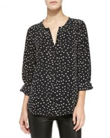 Joie Purine Long-Sleeve Heart-Print Top at Neiman Marcus