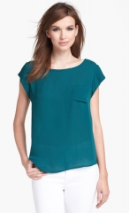 Joie Rancher Silk Pocket Top in green at Nordstrom