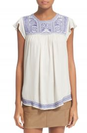 Joie Rankin Embroidered Flutter Sleeve Top at Nordstrom