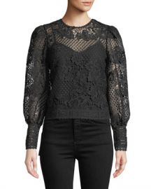 Joie Rodia Cropped Floral Lace Long-Sleeve Top at Neiman Marcus