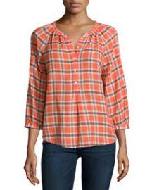 Joie Selma Plaid Blouse Orange Glaze at Neiman Marcus