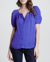 Joie Terabithia Puff-Sleeve Blouse at Neiman Marcus