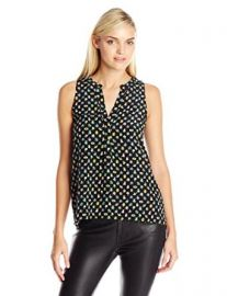 Joie Womenand39s Aruna Bug-Print Sleeveless Silk Blouse at Amazon