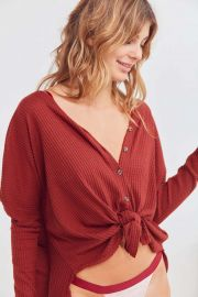 Jojo Oversized Thermal Button-Front Top by Out From Under at Urban Outfitters