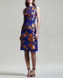 Jonathan Saunders Linford Floral Crepe-Satin Sheath Dress at Neiman Marcus