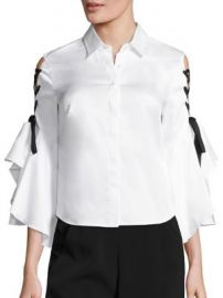 Jonathan Simkhai - Cotton Lace-Up Bell Sleeve Blouse at Saks Fifth Avenue