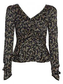 Jonathan Simkhai - Floral Ruched Hammered Stretch-Silk Puff-Sleeve Twist-Front Top at Saks Fifth Avenue
