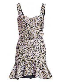 Jonathan Simkhai - Lam   Leopard Jacquard Bustier Ruffle Dress at Saks Fifth Avenue