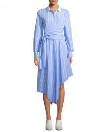 Jonathan Simkhai Asymmetric Long-Sleeve Wrapped Oxford Dress at Neiman Marcus