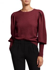 Jonathan Simkhai Cashmere Puff-Sleeve Sweater at Neiman Marcus