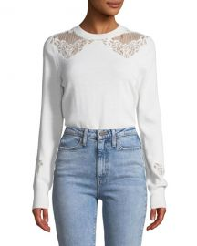 Jonathan Simkhai Lace Applique Crewneck Pullover Sweater at Neiman Marcus