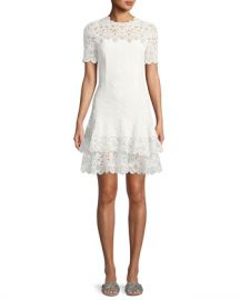 Jonathan Simkhai Lace Applique Mini Tee Dress at Neiman Marcus