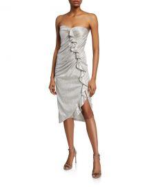 Jonathan Simkhai Plisse Metallic Bustier Ruffle Dress at Neiman Marcus