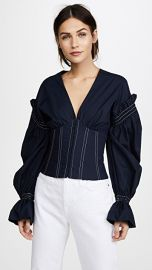 Jonathan Simkhai Ruched Cotton V Neck Corseted Blouse at Shopbop