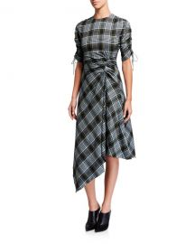 Jonathan Simkhai Ruched Plaid Short-Sleeve Handkerchief Dress at Neiman Marcus