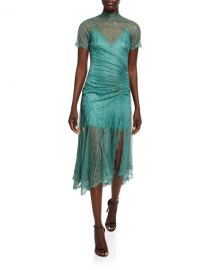 Jonathan Simkhai Sateen Lingerie Lace Short-Sleeve Front-Slit Dress at Neiman Marcus