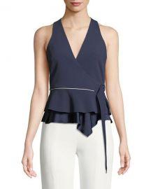 Jonathan Simkhai Satin Crepe Sleeveless Wrap Blouse   Neiman at Neiman Marcus
