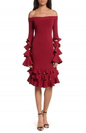Jonathan Simkhai Slashed Knit Ruffle Off the Shoulder Dress at Nordstrom