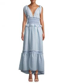 Jonathan Simkhai Smocked V-Neck Ruffle Maxi Dress at Neiman Marcus