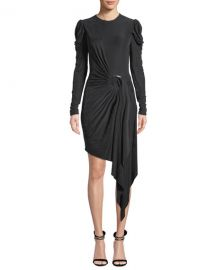 Jonathan Simkhai Sueded Jersey Asymmetric Wrap Dress at Neiman Marcus