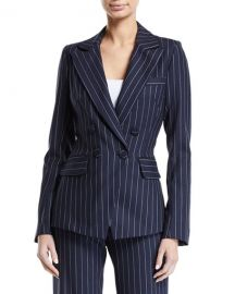 Jonathan Simkhai Tailored Pinstripe Hook-Front Blazer at Neiman Marcus