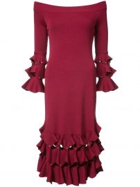 Jonathan Simkhai off shoulder ruffled dress at Farfetch