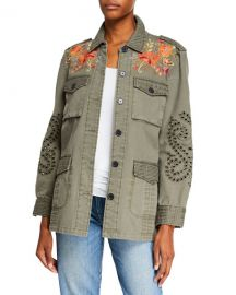 Jonny Was Violette Button-Front Military Jacket with Eyelet Details at Neiman Marcus