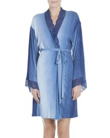 Jonquil Stormy Skies Jersey Wrap Robe  Blue at Neiman Marcus