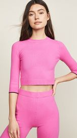 JoosTricot 3 4 Sleeve Crop Top Sweater at Shopbop