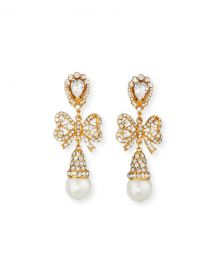 Jose  amp  Maria Barrera Crystal Bow Pearly Drop Earrings at Neiman Marcus