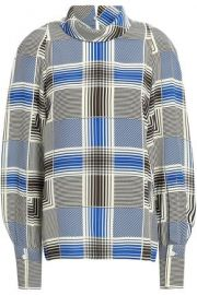 Joseph Laurel checked silk crepe de chine blouse at The Outnet