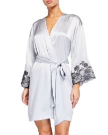 Josie Natori Lolita Lace-Trim Silk Wrap Robe at Neiman Marcus