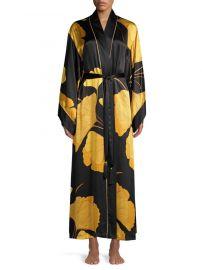 Josie Natori Gingko Floral Silk Robe at Saks Off 5th