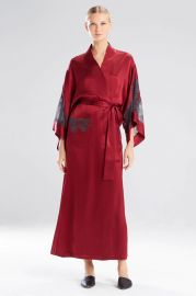 Josie Natori Lolita Long Robe with Lace at Natori